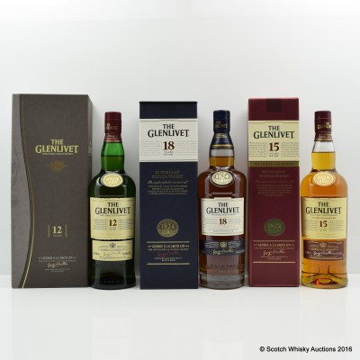Glenlivet 12 Year Old, 15 Year Old French Oak Reserve & 18 Year Old