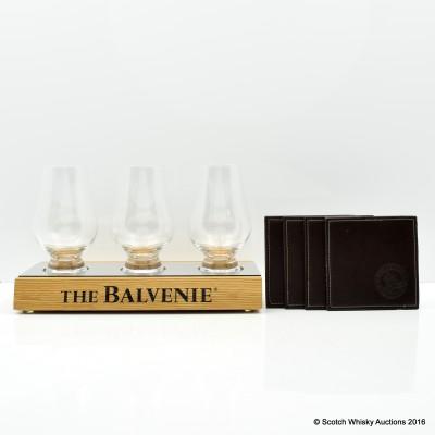 Balvenie Glass Plinth, Coasters x 4 & Glencairn Glasses x 3
