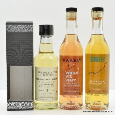 Glengoyne 2007 7 Year Old Hepburn's Choice 20cl, Borders Single Grain First Release 20cl & Raasay While We Wait First Release 20cl