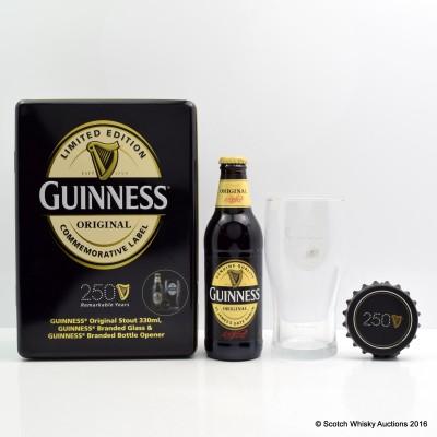 Guinness 250th Anniversary Bottle, Glass & Bottle Opener Set