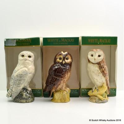Royal Doulton Ceramic Owl Decanters 20cl x 3