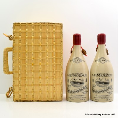 GLENMORANGIE 150TH ANNIVERSARY 21 YEAR OLD 70cl x 2 in Wicker Case