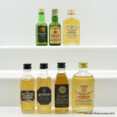 Assorted Minis 7 x 5cl Including Antiquary 12 Year Old 5cl
