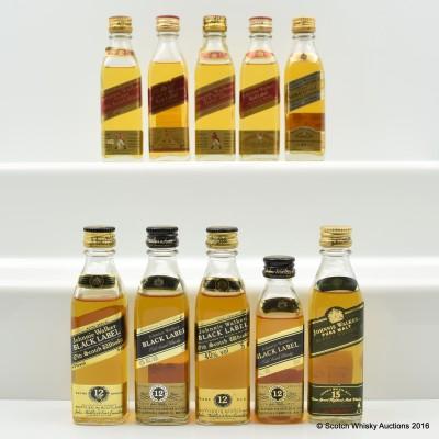 Assorted Johnnie Walker Minis 10 x 5cl