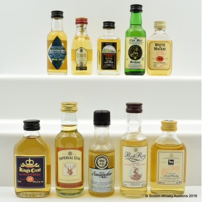 Assorted Minis 10 x 5cl Including King's Crest 25 Year Old 5cl