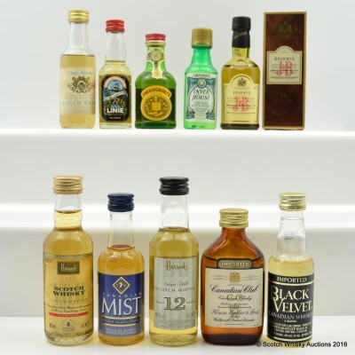 Assorted Minis 10 x 5cl Including J&B 15 Year Old Reserve 5cl