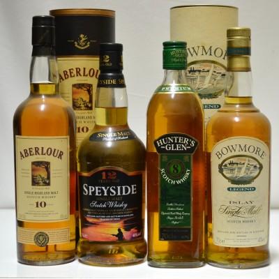Aberlour 10, Speyside 12, Bowmore Legend, Hunter's 8