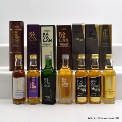 Assorted Kavalan Minis 7 x 5cl Including Kavalan Sherry Oak 5cl