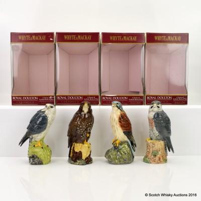 Royal Doulton Ceramic Bird of Prey Decanters 20cl x 4