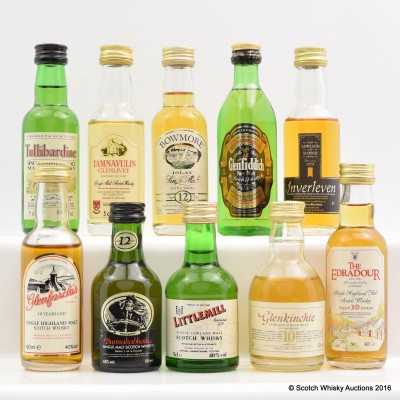 Assorted Minis 10 x 5cl Including Littlemill 5cl