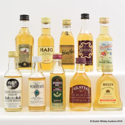 Assorted Minis 10 x 5cl Including Bushmills 10 Year Old 5cl