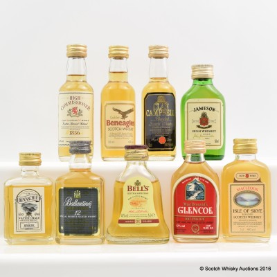 Assorted Minis 9 x 5cl Including Ballantine's Gold Seal 12 Year Old 5cl