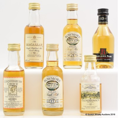 Assorted Minis 6 x 5cl Including Ardbeg 1974 Connoisseurs Choice 5cl