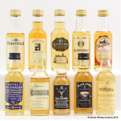Assorted Minis 10 x 5cl Including Strathisla 8 Year Old 5cl
