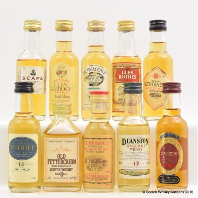 Assorted Minis 10 x 5cl Including Deanston 12 Year Old 5cl