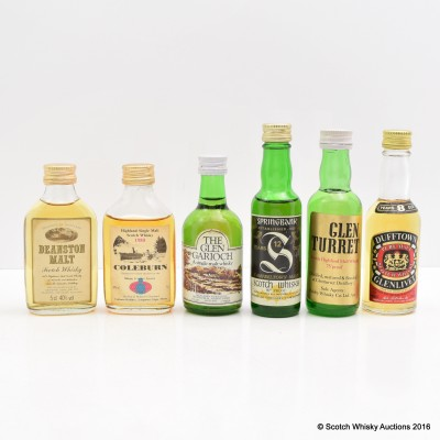Assorted Minis 6 x 5cl Including Springbank 12 Year Old 80° Proof Old Style 5cl