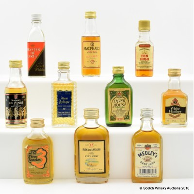 Assorted Minis x 10 Including Including Inverhouse Green Label 5cl