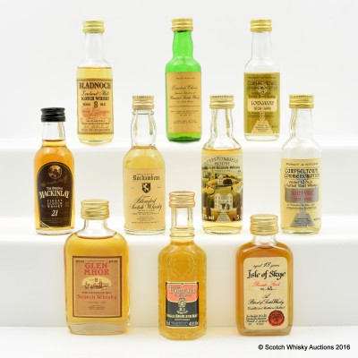 Assorted Minis x 10 Including Including MacKinlay 21 Year Old 5cl