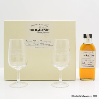 BALVENIE 15 YEAR OLD SAMPLE 10CL & 2 X TASTING GLASSES SET