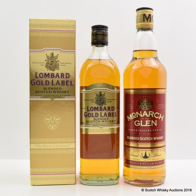 Lombard Gold Label 75cl & Monarch of the Glen 75cl