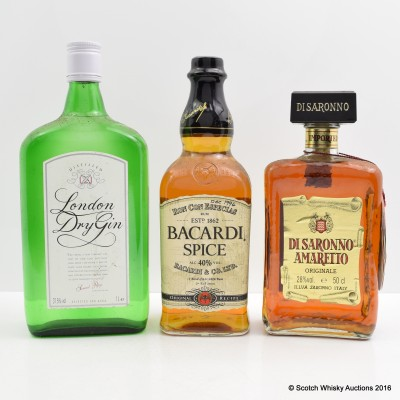 London Dry Gin 1L, Bacardi Spice & Disaronno Amaretto 50cl