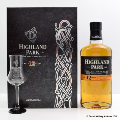 Highland Park 12 Year Old & Tasting Glass Set
