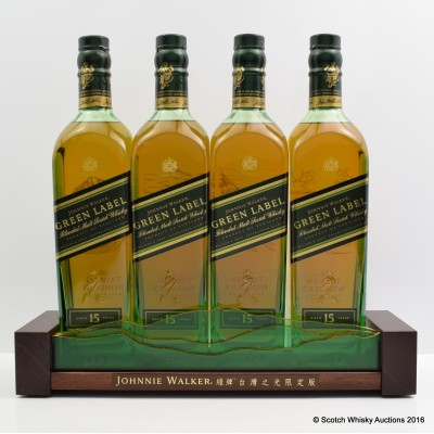 Johnnie Walker Green Label 15 Year Old Taiwan Wonders Collection 4 X 70cl With Stand