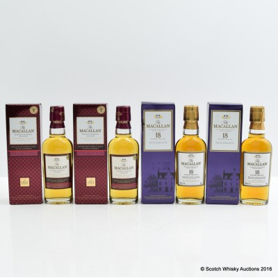 Macallan 18 Year Old Mini 5cl x 2 & Macallan Whisky Maker's Edition Mini 5cl x 2