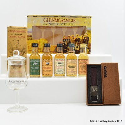 Glenmorangie Miniature Collection 5 x 5cl, Nosing Glass & Glenfiddich Keyring