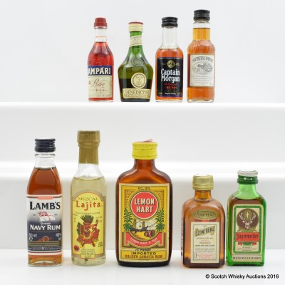 Assorted Minis x 9 Including Lamb's Navy Rum 5cl