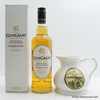 Glen Grant 5 Year Old The Major's Reserve and branded whisky jug