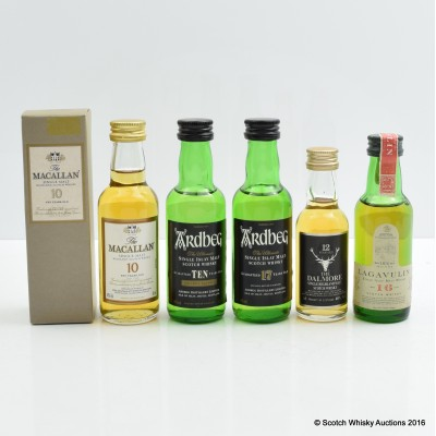 Assorted Minis 5 x 5cl Including Lagavulin 16 Year Old White Horse 5cl