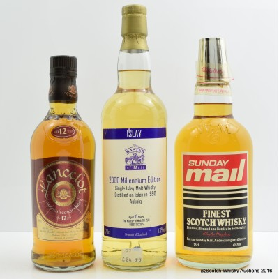 Assorted Whiskies x 3  Including Lancelot 12 year old 50cl