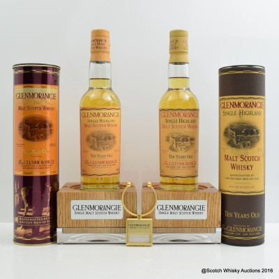 Glenmorangie 10 Year Old 35cl x 2 with Two Bottle Stands and Keyring