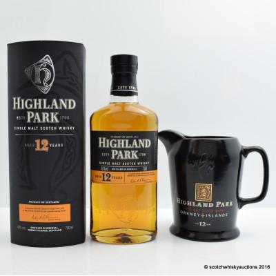 Highland Park 12 Year Old & Branded Water jug