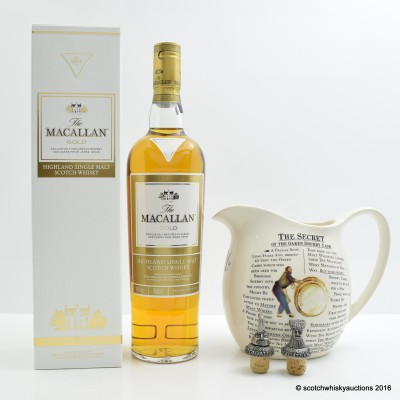 Macallan Gold, Branded Water Jug & Branded Stoppers x 2