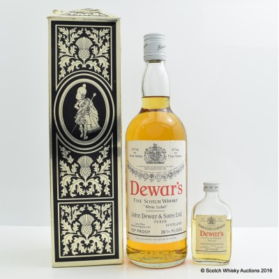 Dewar's White Label 70 Proof 26 2/3 Fl Ozs & Dewar's White Label 70 Proof Mini
