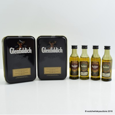 GLENFIDDICH 15 YEAR OLD MINI 5CL & GLENFIDDICH 18 YEAR OLD MINI 5CL IN TIN x 2