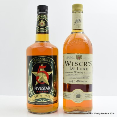 Seagram's 5 Star Rye 1.14L & Wiser's De Luxe 10 Year Old 1.14L