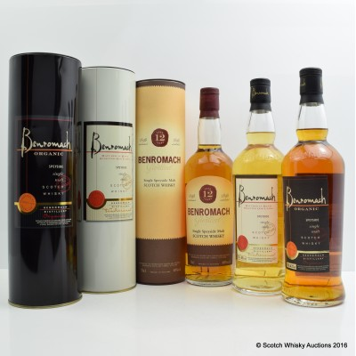 Benromach Organic, Benromach Single Malt & Benromach 12 Year Old Old Style