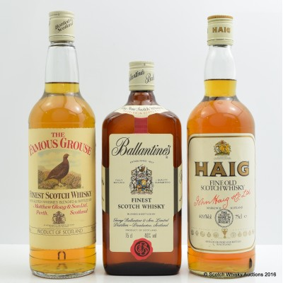 Ballantine's Finest 75cl, Haig Fine Old 75cl & Famous Grouse 75cl