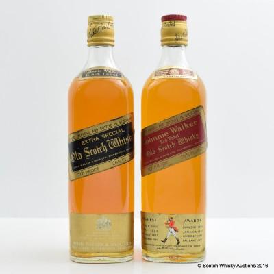 Johnnie Walker Red Label 26 2/3 Fl Oz & Johnnie Walker Extra Special Old Black Label 26 2/3 Fl Ozs