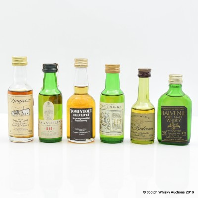 Assorted Minis 6 x 5cl Including Balvenie 8 Year Old Pure Malt 5cl