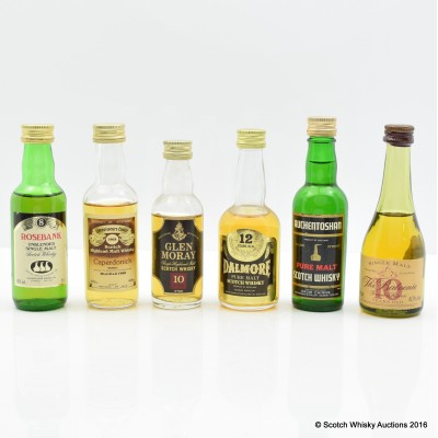 Assorted Minis 6 x 5cl Including Rosebank 8 Year Old 5cl