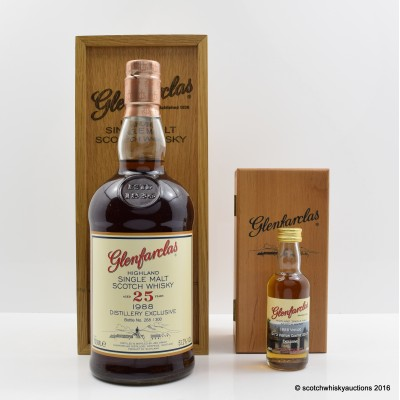 GLENFARCLAS 1988 VINTAGE DISTILLERY ONLY 25 YEAR OLD & Matching Mini 5cl