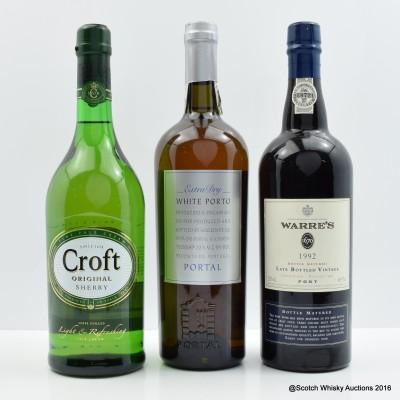 Croft Original Sherry, Warres 1992 Vintage Port 75cl & Portal White Port 75cl