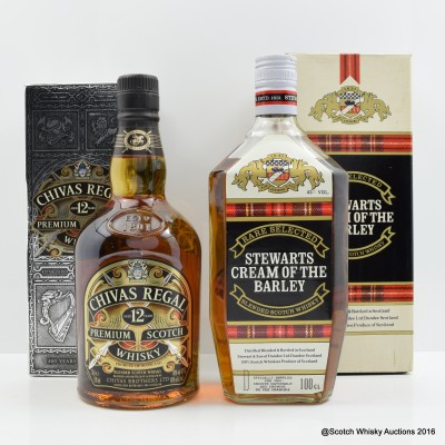 Chivas Regal 12 Year Old & Stewart's Cream of The Barley 1L