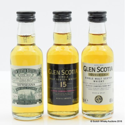 Glen Scotia Minis - 15, Double Cask & Victoriana 5cl