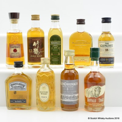 Assorted Miniatures x 9 Including Glendronach 8 Year Old 5cl