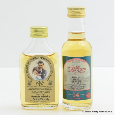 Arran 14 Year Old Mini 5cl & Royal Wedding 1981 Commerative Mini 5cl